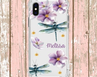 Pretty Dragonfly Flower Custom iPhone Case, iPhone 6 plus, 8, 8 Plus, X, Xs, Xs MAX, XR, Galaxy S10, S8 Plus, S9, s9 plus, Note 8, Note 9