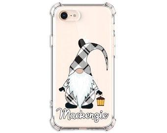 Black and White Plaid Gnome, Personalized Gnome Case, iPhone 12, iPhone 12 pro, 12 pro max, 8 Plus, Xs MAX, XR, 11, Galaxy S10, S9, Note 20