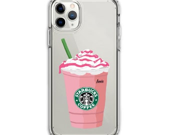 Heavy Duty Starbucks Strawberry Frappe Clear Protective Hybrid Case, iPhone 12, Xs MAX, XR, 11, 12 Pro, Galaxy A20 A30 LG Stylo 6, Aristo 3