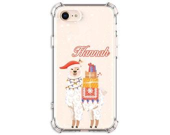 Cute Llama Christmas Phone Case, iPhone SE, 12, 11, 11pro, 8, 8 Plus, X, Xs MAX, XR, Galaxy S10, S10e, S8 Plus, S9, s9 plus, Note 8, Note 9