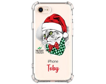 Christmas Cat Personalized Gift, Cat Mom, Cat Dad, iPhone 11, iPhone 11 Pro, iPhone 11 pro max, iPhone Xs Max, iPhone 8, Galaxy S9
