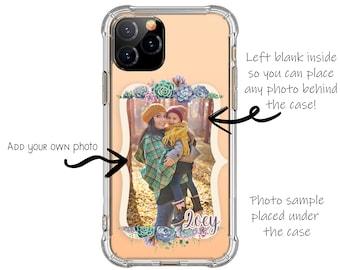Succulent Flower Frame iPhone Case, Change your own photos, iPhone 12, 12 pro, X, XR, 8 Plus, Galaxy S20, S9, s9 plus, Note 8, Note 9, SE20