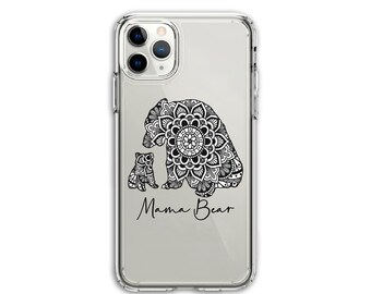 Personalized Heavy Duty MaMa Bear, Mom gift, Clear Protective Hybrid Case, iPhone XR, 11, 11 Pro Max, Galaxy A20 A30 LG Stylo 5, Aristo 3