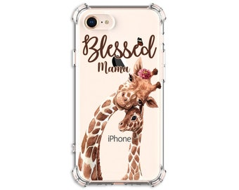 Giraffe lover Blessed Mama case, iPhone 6, 6 plus, 7, 7 plus, 8, 8 Plus, X, Xs, Xs MAX, XR, Galaxy S8, S8 Plus, S9, s9 plus, Note 8, Note 9