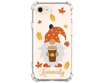 FALL Gnome, Personalized Autumn gnome and pumpkin spice cup Case, iPhone 8, 8 Plus, Xs MAX, XR, 11, Galaxy S10, S8 Plus, S9, Note 8, Note 9