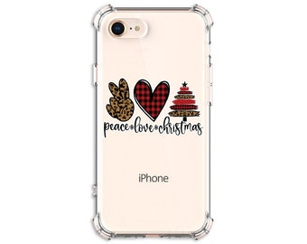 Leopard Christmas tree, Peace Love Christmas case, iPhone 8, 8 Plus, 11, 11 pro, 11 pro max, Galaxy S8, S8 Plus, S9, s9 plus, Note 8, Note 9