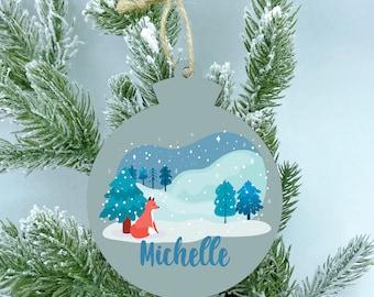 Woodland Fox Wood Ornament, Winter wonderland, Personalize Color Name Ornament, Christmas ornaments handmade, 2020 Ornaments