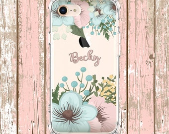 Personalized flower name, iPhone 6, 6 plus, 7, 7 plus, 8, 8 Plus, X, Xs, Xs MAX, XR, Samsung Galaxy S8, S8 Plus, S9, s9 plus, Note 8, Note 9