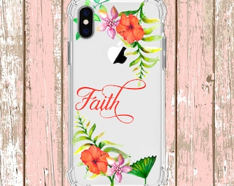 Hibiscus Flowers and Faith Case, iPhone 6, 6 plus, 7, 7 plus, 8, 8 Plus, X, Xs, Xs MAX, XR, Galaxy S8, S8 Plus, S9, s9 plus, Note 8, Note 9