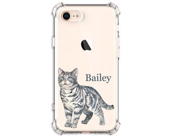 American Shorthair Cat, Personalized Kitty Case, iPhone se, 8, 8 Plus, XR, 11, Galaxy S10, S9, s9 plus, Note 20, Note 8, Note 9, Note 20