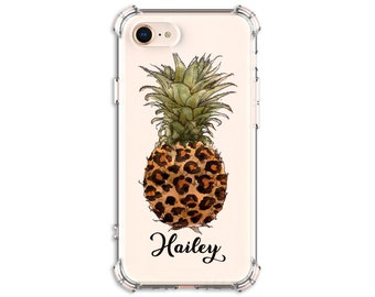 Pineapple Cheetah Personalized Case, Pretty iPhone 6, 7 plus, 8, 8 Plus, X, Xs, Xs MAX, XR, Galaxy S8, S8 Plus, S9, s9 plus, Note 8, Note 9