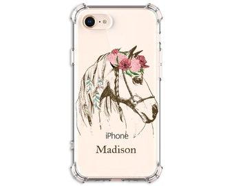 Boho Horse Personalized Name case, iPhone 6, 6 plus, 7, 7 plus, 8, 8 Plus, X, Xs, Xs MAX, XR, Galaxy S8, S8 Plus, s9 plus, Note 8, Note 9