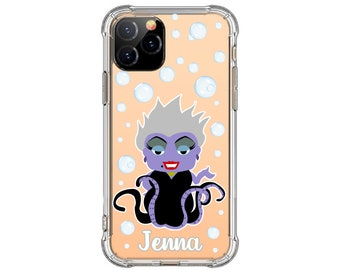 Ursula Personalized Phone Case, Evil villians iphone case, iPhone 12, 12 pro max, 8 Plus, XR, 11, Galaxy S20 plus, Note 9, Note 20 Ultra