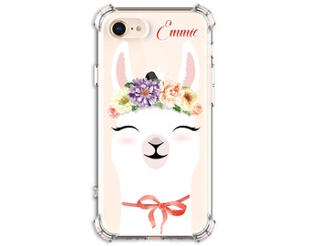 Pretty Flower llama Personalized Case, iPhone 7, 7 plus, 8, 8 Plus, X, Xs, Xs MAX, XR, Galaxy S10, S10e S8 Plus, S9, s9 plus, Note 8, Note 9
