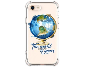 Watercolor Traveler, The world is yours, iPhone 6, 7, 7 plus, 8, 8 Plus, X, Xs, Xs MAX, XR, Galaxy S8, S8 Plus, S9, s9 plus, Note 8, Note 9