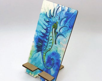 Watercolor Seahorse Design Phone Holder, Tablet Holder, Custom Phone stand, Gift for teacher, Birthday Gift, Charging stand