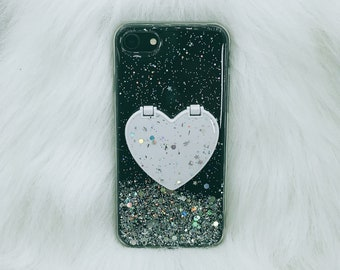 Glitter Clear Case with Kickstand Mirror Heart, iPhone 11, 11 pro, 11 pro max, XR, X, XS MAX, 8 Plus, 7 Plus, Se 2020, 7, 8, Slim Clear Case
