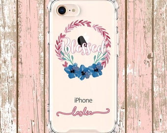 Blessed Pretty Wreath Flowers, iPhone 6, 6 plus, 7, 7 plus, 8, 8 Plus, X, Xs, Xs MAX, XR, Galaxy S8, S8 Plus, S9, s9 plus, Note 8, Note 9