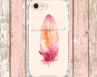 Pink Feather Phone Case, iPhone 6, 6 plus, 7, 7 plus, 8, 8 Plus, X,  Xs MAX, XR,  Galaxy S8, S8 Plus, S9, s9 plus, Note 8, Note 9