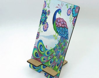 Pretty Peacock Design Phone Holder, Tablet Holder, Custom Phone stand, Gift for teacher, Birthday Gift, Charging stand