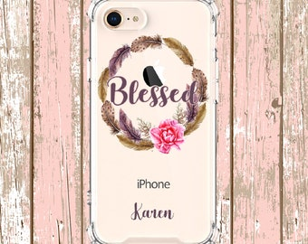 Blessed Feather wreath, iPhone 6, 6 plus, 7, 7 plus, 8, 8 Plus, X, Xs, Xs MAX, XR, Samsung Galaxy S8, S8 Plus, S9, s9 plus, Note 8, Note 9