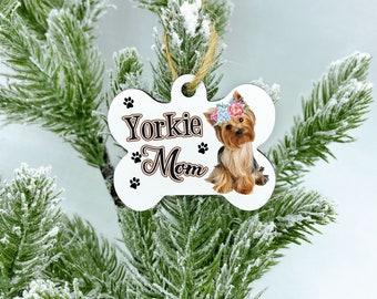 Custom yorkie dog ornament, 2020 Yorkie Mom Christmas Ornament, Yorkie Dog Gift, Yorkie Ornament, Dog Ornament, Personalized Dog Ornament