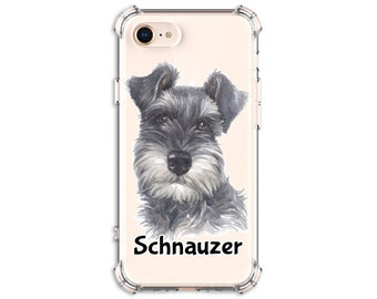 Schnauzer Mom Dad Gift Case, iPhone 8, 8 Plus, X, Xs MAX, XR, 11, 11 pro, Galaxy S8, S8 Plus, S9, s9 plus, Note 8, Note 9, Note 10
