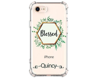 Blessed Personalized Hexagon Leaves Phone case, iPhone 5, 6 plus 8 plus, X, Xs, Xs MAX, XR, Galaxy S10, S8 Plus, S9, s9 plus, Note 8, Note 9