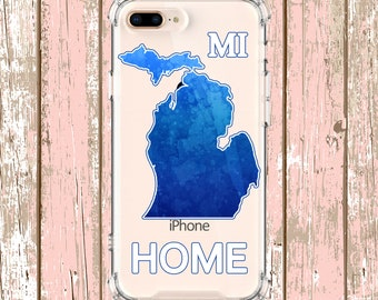 Michigan Home State Outline Phone Case Gift, iPhone 8 8Plus X iPhone Xs, Xs max, Xr Samsung Galaxy S10, S10e, Plus S9 s9 plus Note 8 Note 9