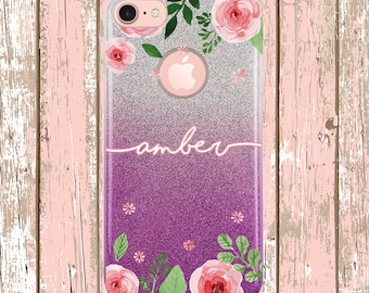 Watercolor Flower Glitter Ombre Case, iPhone 7, iphone 8, iPhone X, iPhone Xs, iPhone 7 Plus, iPhone 8 Plus, Script font with name