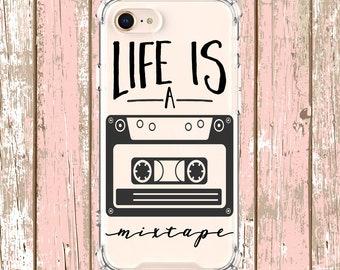 Life is a Mixtape Quote Case, iPhone 6, 6 plus, 7, 7 plus, 8, 8 Plus, X, Xs, Xs MAX, XR, Galaxy S8, S8 Plus, S9, s9 plus, Note 8, Note 9