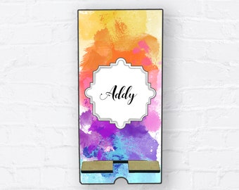 Tie Dye Colorful Rainbow Splatter Personalized Design Phone Stand, Tablet Holder, Custom Phone stand, Gift for teacher, Charging stand