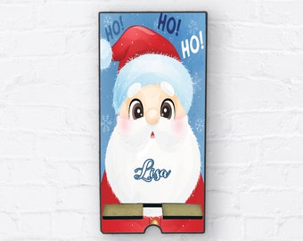 Santa HO HO HO Christmas Gift, Personalized Design Phone Stand, Tablet Holder, Custom Phone stand, Gift for teacher, Charging stand