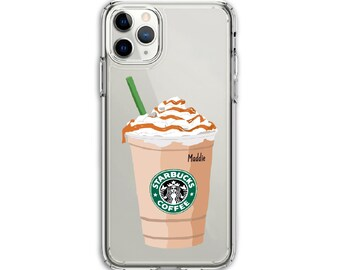 Heavy Duty Starbucks Frappe Clear Protective Hybrid Case, iPhone 12, Xs MAX, XR, 11, 12 Pro, 11 Pro Max, Galaxy A20 A30 LG Stylo 5, Aristo 3