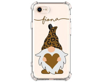 Cheetah Print Gnome with heart iPhone Case, iPhone SE, 8 Plus, X,  Xs MAX, XR, iPhone 12, iPhone 12 pro, Galaxy S9, s9 plus, Note 8, Note 9