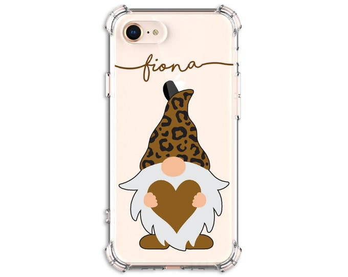 Featured listing image: Cheetah Print Gnome with heart iPhone Case, iPhone SE, 8 Plus, X,  Xs MAX, XR, iPhone 12, iPhone 12 pro, Galaxy S9, s9 plus, Note 8, Note 9