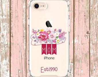 Mom est phone case gift, iPhone 6, 6 plus, 7, 7 plus, 8, 8 Plus, X, Xs, Xs MAX, XR, Galaxy S10, S10e, S10 Plus, S9, s9 plus, Note 8, Note 9