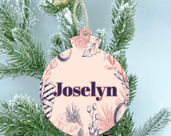 Pink Christmas Wood Ornament, Personalize Color Name Ornament, Christmas ornaments handmade, 2020 Ornaments, Family ornament, christmas gift