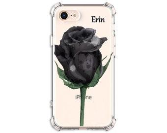 Watercolor Black Rose Phone Gift, iPhone 6, 6 plus, 7, 7 plus, 8, 8 Plus, X, Xs, Xs MAX, XR, Galaxy S8, S8 Plus, S9, s9 plus, Note 8, Note 9