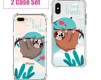 Sloth Best Friends Phone set, iPhone SE, 6 plus, 7, 7 plus, 8, 8 Plus, X, Xs, Xs MAX, XR, Galaxy S8, S8 Plus, S9, s9 plus, Note 8, Note 9