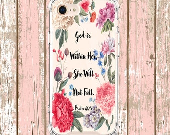 Peonies Floral Psalm 46:5 Bible, iPhone 6, 6 plus, 7, 7 plus, 8, 8 Plus, X, Xs, Xs MAX, XR, Galaxy S8, S8 Plus, S9, s9 plus, Note 8, Note 9