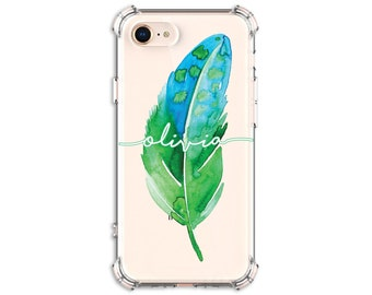 Pretty Green Watercolor Feather Personalized Case, iPhone 7, 7 plus, 8, 8 Plus, X, Xs MAX, XR, Galaxy S8, S8 Plus, s9 plus, Note 8, Note 9