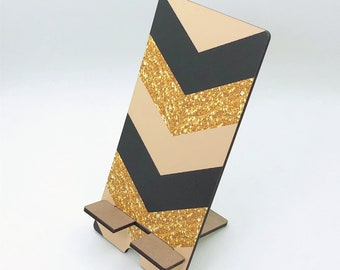 Gold and Black Chevron Glitter Phone Holder, Tablet Holder, Custom Phone stand, Gift for teacher, Charging stand