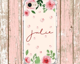 Roses Name Case, iPhone 6, 6 plus, 7, 7 plus, 8, 8 Plus, X, Xs, Xs MAX, XR, Galaxy S8, S8 Plus, S9, s9 plus, Note 8, Note 9
