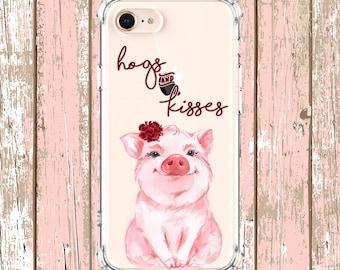 Hogs and Kisses Cute pig Case, iPhone 6, 6 plus, 7, 7 plus, 8, 8 Plus, X, Xs, Xs MAX, XR, Galaxy S10, S10 Plus, S9, s9 plus, Note 8, Note 9