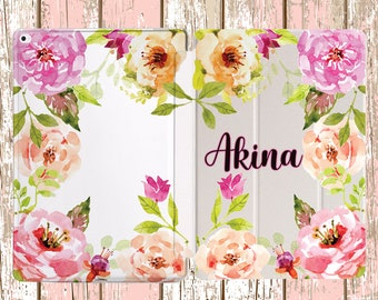 Watercolor Floral border with your NAME for iPad Air, iPad Air 2, iPad pro, iPad 10.5, iPad Mini 4