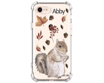 Squirrel Lover Autumn Leaves Custom Gift, iPhone 7, 7 plus, 8, 8 Plus, X,  Xs MAX, XR, Galaxy S10, S8 Plus, S9, s9 plus, Note 8, Note 9