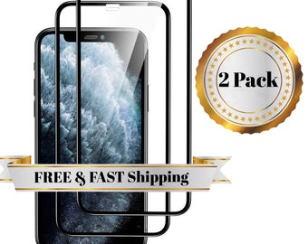2 Pack Full Tempered Glass for iPhone 12, iPhone 12 Pro max, iPhone 12 Mini, iPhone 11, iPhone 11 Pro Max, iPhone 11 Pro Screen Protector