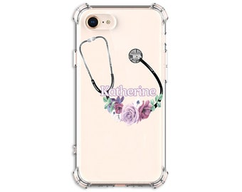 Floral Stethoscope Nurse Gift iPhone 7, 7 plus, 8, 8Plus, X,  Xs MAX, XR, 11,  Galaxy S8, S8 Plus, S9, s9 plus, Note 8, Note 9