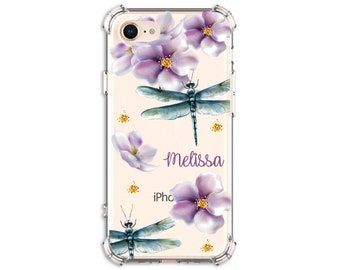 Pretty Dragonfly Flower Custom iPhone Case, iPhone 6 plus, 8, 8 Plus, X,  Xs MAX, XR, Galaxy S10, S8 Plus, S9, s9 plus, Note 8, Note 9